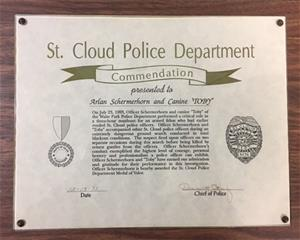 K9 Toby Medal of Valor Plaque