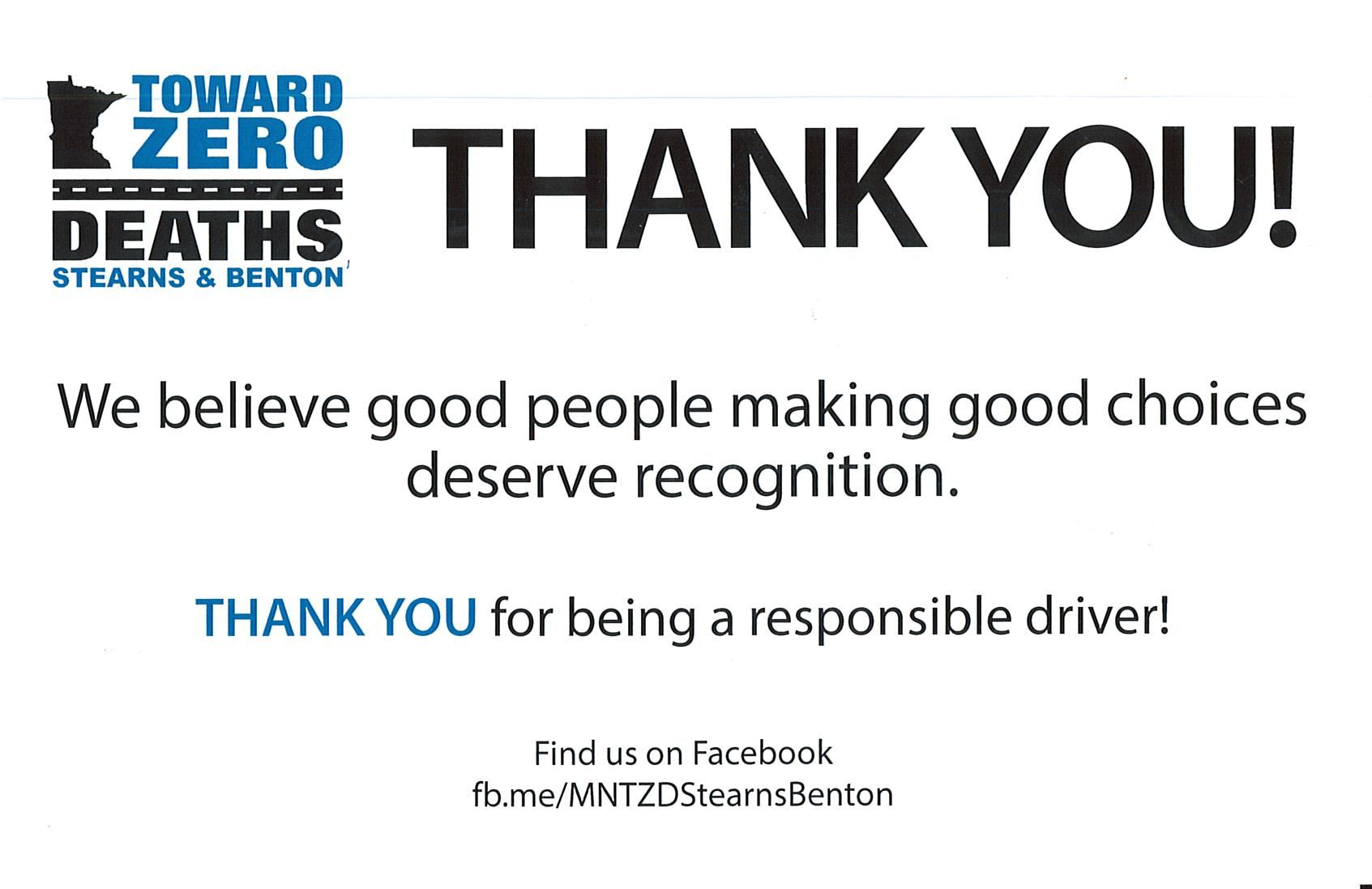 Thank you for being a responsible driver!
