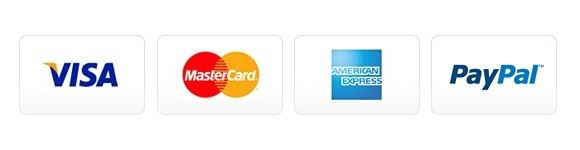 Display of Visa, MasterCard, Discover and American Express credit card logos